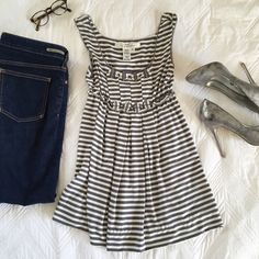 ⚡️FF⚡️Max Studio Top Cute Max Studio empire waist dress top. Gray and white stripes and cute detailing on front. Soft and comfortable! Max Studio Tops Tank Tops