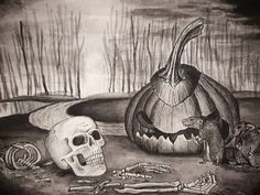 """Happy Halloween! 🎃 Today is the last day of inktober, with the theme being """"ripe"""", so I had to do something Halloween themed 😉 . I used black watercolor paint to add all the shadows and give the objects depth. After I let it dry, I went in with an ink pen and added more depth and lines. . #inktober #spookyart #blackandwhiteart #mixedmedium #mixedmediumart #halloween #halloweenart #ripe #forestdrawing #kunst #norskkunst Halloween Art, Halloween Themes, Happy Halloween, Forest Drawing, Watercolour Painting, Mixed Media Art, Inktober, Amazing Art, Shadows"""
