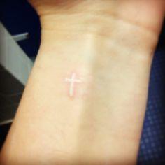 Small White Ink Cross Tattoo On Wrist Small White Ink Cross Tattoo On Wrist Source by szripa White Ink Cross, White Tattoo Cross, Cross Tattoo On Wrist, Simple Cross Tattoo, Small White Tattoos, Small Cross Tattoos, Cross Tattoos For Women, Wrist Tattoos For Guys, Tattoo Small