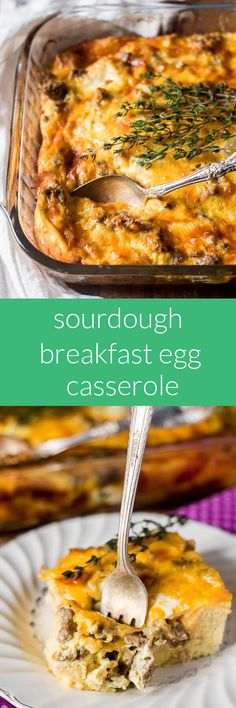 Start your day with a high protein breakfast. Sourdough bread and sharp cheddar cheese give this traditional egg breakfast casserole a slight tang that your tastebuds will love. It's a make-ahead casserole that is great for company. Made in a 9x13 casserole dish.