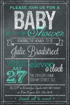 awesome chalkboard art baby shower invitation by Kim at DesignerDigitals.com
