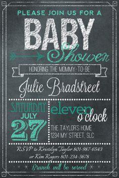 awesome chalkboard art baby shower invitation by Kim at DesignerDigitals.com
