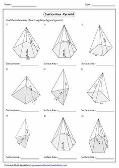 Prisms, Pyramids, Cylinders & Cones Volume Worksheets