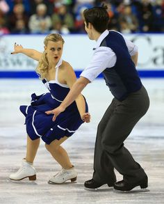 Madison Hubbell and Zachary Donohue skate during the ice dance short program at 2013 Skate Canada,  Ice Dancing dress inspiration for Sk8 Gr8 Designs.