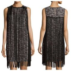 "MK sleeveless fringe gunmetal dress MICHAEL Michael Kors dress with allover fringe trim. Approx. measurements: 33.50"" from shoulder to hem. High round neckline. Sleeveless. Shift silhouette. Polyester; polyester lining; viscose/polyester fringe. Hand wash. 14 1/2"" across waist, 8"" rise, 27 1/2"" inseam. No beads missing. Pics via Anthropologie. Price is lowest & firm. No trades. All sales final. MICHAEL Michael Kors Dresses"