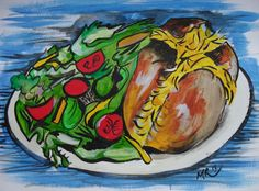 Jacket Potato (2013). One of a series of food images on paper being worked on for Cafe in Hadleigh