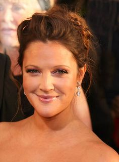 Drew Barrymore curly brunette romantic updo hairstyle
