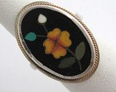 Antique Victorian PIETRA DURA RING  Micro Mosaic 800 Silver Floral Flower Inlaid