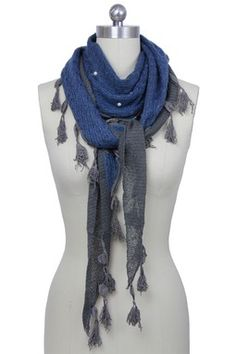 Blue Grey Knit Pearl Accent Scarf