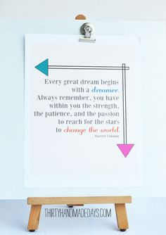 Dream quote printable from @30daysblog - would be great in a kids room