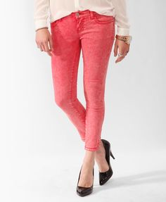 Mineral Washed Color Crop $27.80; love the color!!! barefoot pink jean night aha
