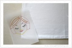 How to: Tracing paper and transfer pens. Great instructions. Her site is full of great info. As seen on Sublime Stitching blog.