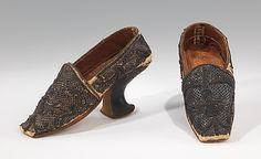 During the 1st half of the 17th century of the Baroque Period men and women shoes were much of the same style and cut. Later, women began taking interest in footwear and began to wear fashionable shoes. Their shoes were similar to the image shown above. They included shoes made of silk, satin, and velvet trimmed with lace which fell in a deep flounce over the foot. Many of the shoes were decorated with ribbon and looped leather.
