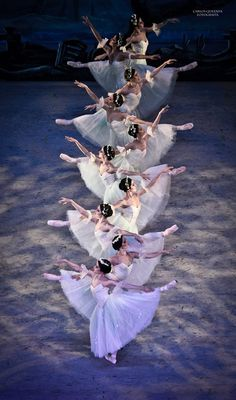 Artists of Compañía Nacional de Danza as the Wilis in Act 2 of Giselle. Photo by…