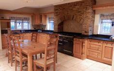 Puppy oak kitchen