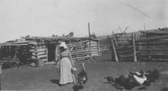 Hutchinson ranch - Annabel in front of the Chicken House with her chickens and turkeys around 1910