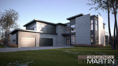 Architecture Nathalie St-Martin added a new photo. Modern Architecture Design, Residential Architecture, Small House Design, Modern House Design, Modern House Plans, House Floor Plans, Building Design, Building A House, Woodland House