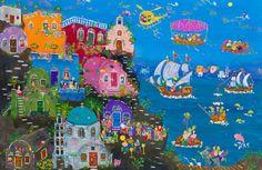 Εικαστικές «Χίλιες και μία νύχτες» ονείρου και παρηγοριάς   naftemporiki.gr Greek Art, Naive, Illustration Art, Greece, Painting, Magic, Color, Google, Greece Country