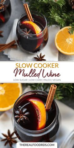 Slow cooker spiced wine (mulled wine) is an easy holiday cocktail recipe, made with red wine, apple cider, citrus, and warm spices. The delicious warm drink is perfect for holiday parties! Winter Drinks, Holiday Drinks, Holiday Recipes, Holiday Parties, Low Carb Drinks, Healthy Drinks, Homemade Mulled Wine, Mulled Wine Recipe Crockpot, Wine Recipes