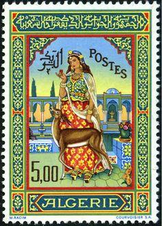 Philatélie : Histoire de l'Algérie à travers le timbre-poste . Voir le tableau STAMP POSTAGE d'EVELYNE EVOUX