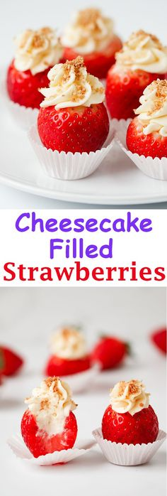 Cheesecake Stuffed Strawberries are the perfect no-bake treat! Juicy strawberries stuffed with delicious cheesecake filling are the ultimate indulgence! Dip them in Chocolate to take them to a whole new level! Cheesecake Filled Strawberries, Strawberry Cheesecake, Strawberry Recipes, Fruit Recipes, Dessert Recipes, Recipies, Appetizer Recipes, Hallumi Recipes, Hotdish Recipes