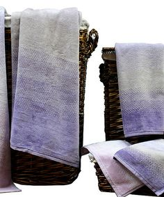 Orchid Bloom Egyptian Cotton Towel Set  With a refined design and luxurious Egyptian cotton, this sophisticated towel set is sure to compliment bathroom décor with ease.   Includes two bath towels, two hand towels and two wash towels 100% Egyptian cotton 525 GSM Machine wash Imported vegan cruelty free luxury high end towels bathroom bath ombre