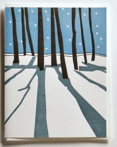 Set of 12 Letterpress Printed Christmas Winter Cards Silent Night by Vandalia Street Press