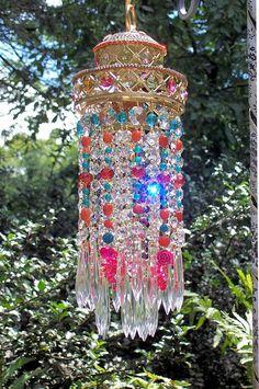 Jeweled Bohemian Crystal Waterfall Petite by sheriscrystals Crystal Wind Chimes, Diy Wind Chimes, Glass Garden, Garden Art, Lighting Your Garden, Shades Of Gold, Gypsy Style, Suncatchers, Bohemian Decor
