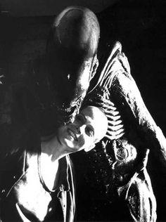 Sigourney Weaver on the set of Alien 3 (1991)