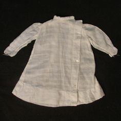 "Antique Window Pane Weave Cotton Voile Dress for 16"" -18"" Bisque Doll"