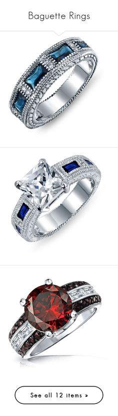 """""""Baguette Rings"""" by bellamatte on Polyvore featuring jewelry, rings, birthstones, blue, vintage style wedding rings, sapphire band ring, cz band ring, antique wedding rings, art deco sapphire ring and princess cut ring"""