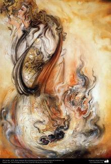 Mahmoud Farshchian: Scent Of Secrecy, Persia, Persian, Iran Miniature Art Print Graffiti Painting, Watercolor Pictures, Muse Art, Iranian Art, Acrylic Painting Techniques, Learn Art, Classic Paintings, Fashion Wall Art, Beauty Art