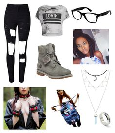 """""""Bts meet and greet outfit"""" by theratchetdragon on Polyvore featuring WithChic, Religion Clothing, Timberland and Ray-Ban"""