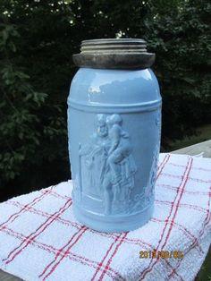 RARE Antique Victorian Blue Glass Canning Jar Fruit Milk Ornate Man Child Bottle | eBay