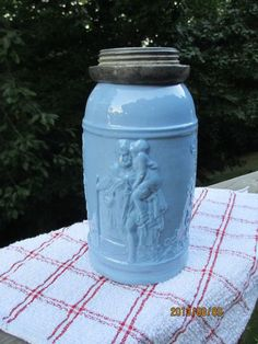 RARE Antique Victorian Blue Glass Canning Jar Fruit Milk Ornate Man Child Bottle | eBay
