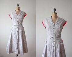 1950s dress  vintage 1950's paisley print day dress by Thrush, $116.00
