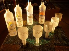 Glasses made with Grey Goose's bottles! Recycled Art, Recycled Glass, Reuse, Upcycle, Grey Goose, Glass Jars, Pillar Candles, Recycling, Crafty