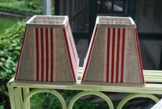 Red Ticking Lampshade / 4 x 7 x 7 Square Clip by lampshadelady, $75.00