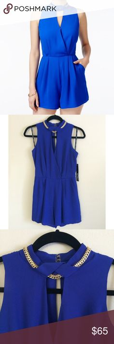 XOXO Chain Romper Cobalt Blue, High Neckline, Front Cutout, Metal Chain Details, Front Off-Seam Pockets & Back Zipper Closure.  Material: 100% Polyester.                                                                                                                        TRADING PAYPAL XOXO Pants Jumpsuits & Rompers