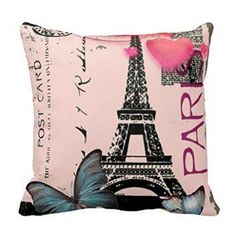 Vintage Pink Paris Effiel Tower Butterfly Fashion Pillow Case Paris home décor is cute, trendy and adorable. In fact, it is perfect for anyone who has or wants to visit Pairs. Paris themed home décor is really trendy and popular all over the world. For this reason, I really love Paris wall art, Eiffel Tower bedding not to mention other cute Parisian decorative accents. Any room of your home living room, bedroom, kitchen, and even bathrooms can look charming, unique and elegant.