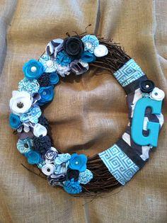 Felt flower wreath, monogram wreath, fabric flower wreath,  grapevine wreath, gray and teal wreath on Etsy, $38.00