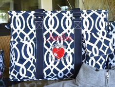 "19"" or 16""  Navy Blue Vine Tote, Large Utility Tote, Nurse's Tote, Teacher's Tote, Diaper Bag, Monogrammed by StitchedInStyle1 on Etsy"