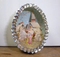 Vintage Handcrafted Diorama Egg Christmas Ornament, Silver Sequins, Church Scene