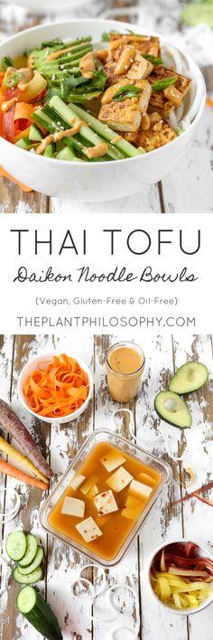 Vegan Thai Tofu Daikon Noodle Bowls | Gluten-Free & Oil-Free | The Plant Philosophy