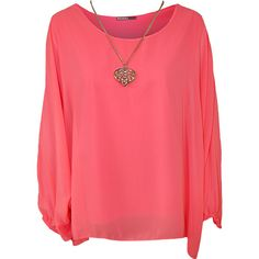 Nora Baggy Batwing Sleeve Necklace Top ($21) ❤ liked on Polyvore featuring tops, shirts, fluorescent pink, plus size, red shirt, plus size red shirt, summer shirts, pink top and pink plus size tops