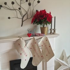 New to weheartcards on Etsy: A Pair of Two Christmas Stockings - Traditional Personalised Christmas Stockings - Any names - Linen holiday decor - Free gift wrapping (27.95 GBP)