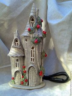 "Everything about ""Clay Crafts"" Clay Fairy House, Gnome House, Fairy Garden Houses, Clay Houses, Ceramic Houses, Miniature Houses, Plastic Bottle Crafts, Diy Bottle, Bottle Art"