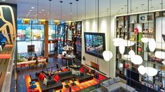 Modern living room lobby at CitizenM, Times Square, New York