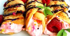 These amazing raspberry vegan crepes can also be made strawberry, blueberry or whatever your favorite is. Simple, delicious and made in only minutes!