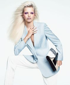 Resort: Chic and Easy Pieces - The new power color: powder blue. Stella McCartney blazer & pants, Ippolita ring, Narciso Rodriguez clutch.
